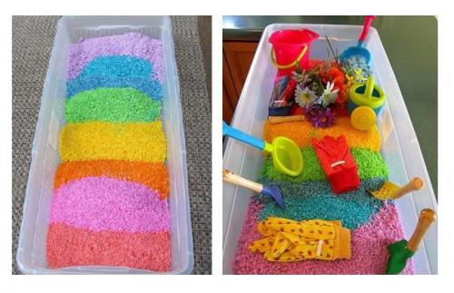 Как сделать цветной рис. Цветной рис и поделки из него